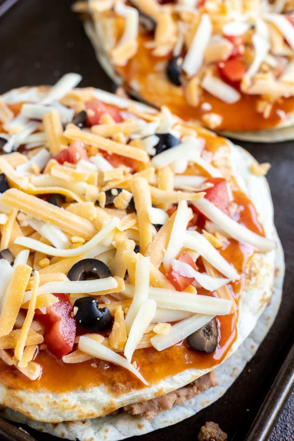 assembled Mexican pizza prior to being baked