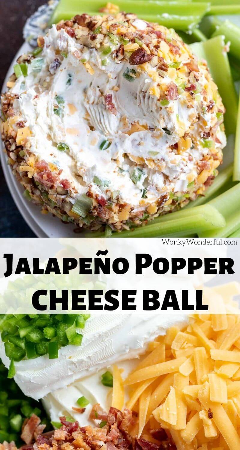 jalapeno popper cheese ball pinnable image with title text