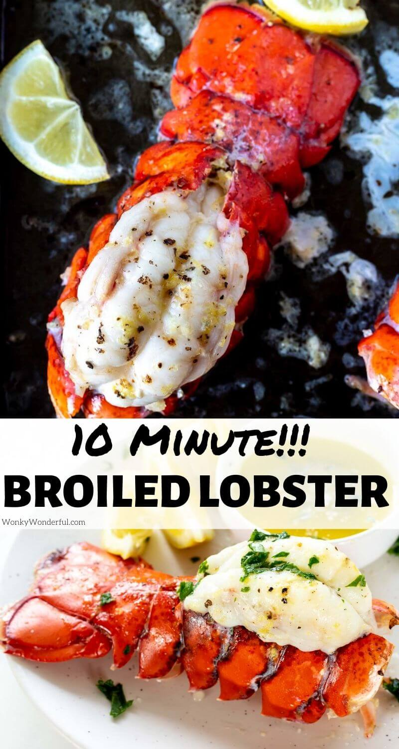 broiled lobster tails pinnable image with title text