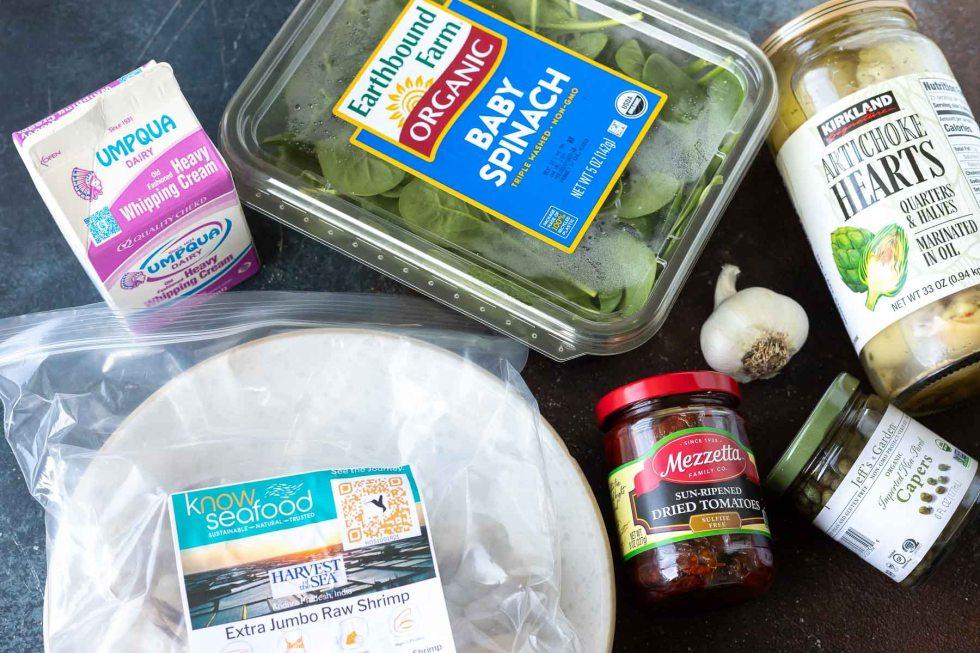 ingredients for shrimp pasta recipe