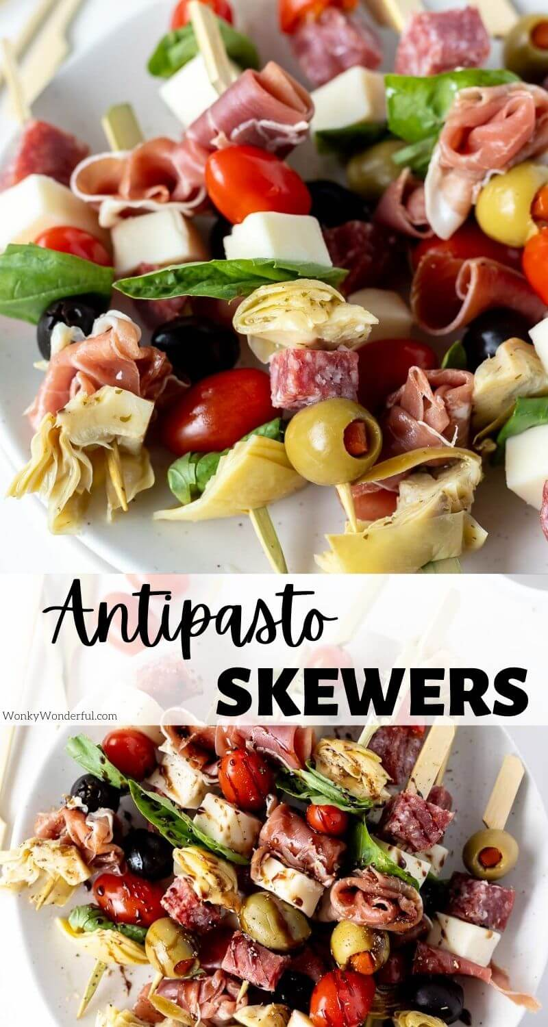 antipasto skewers pinnable image with title text
