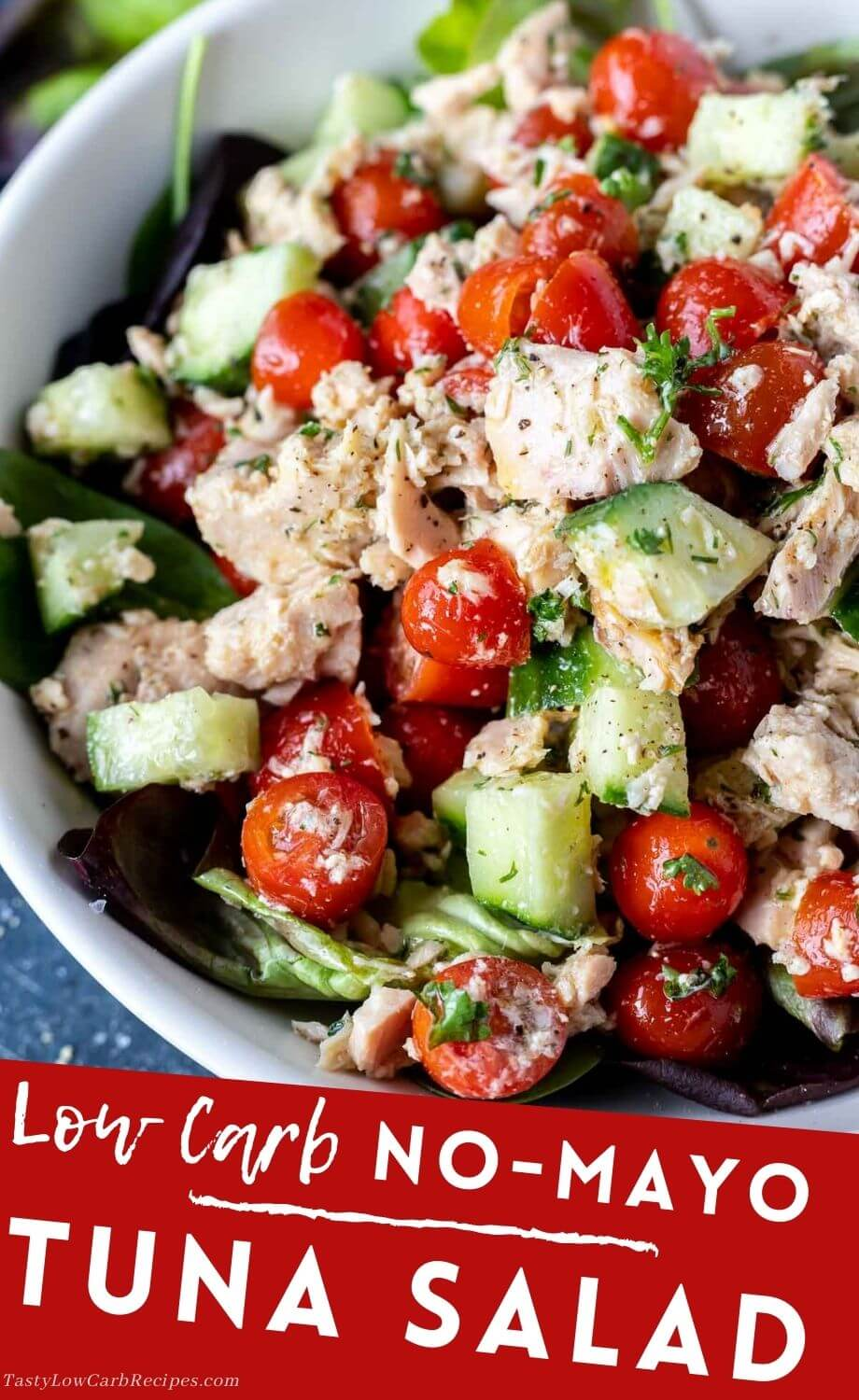 tuna salad no mayo pinnable image with title text