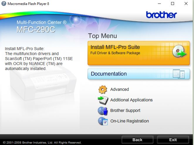Original Driver CD Disc for Brother MFC-290C Printer 2008 MFL-Pro Suite