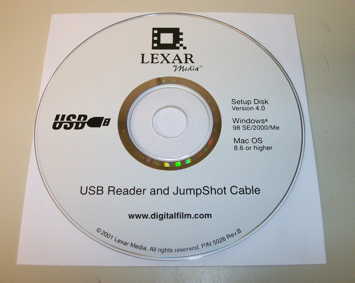 Original Driver CD Disc for Lexar Media USB Reader JumpShot Cable Win  98/2000/ME