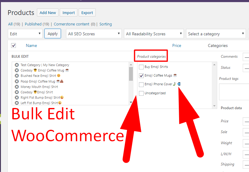 WooCommerce Bulk Editing
