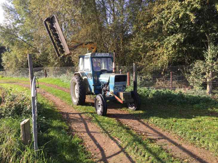 Ringstead Island fishery work party tractor.