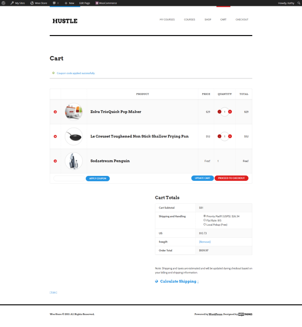 The free gift is automatically added to the cart