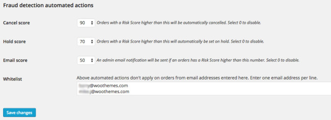 The automated actions provided by WooCommerce Anti-Fraud.