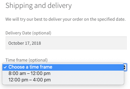Select a delivery time frame for the order