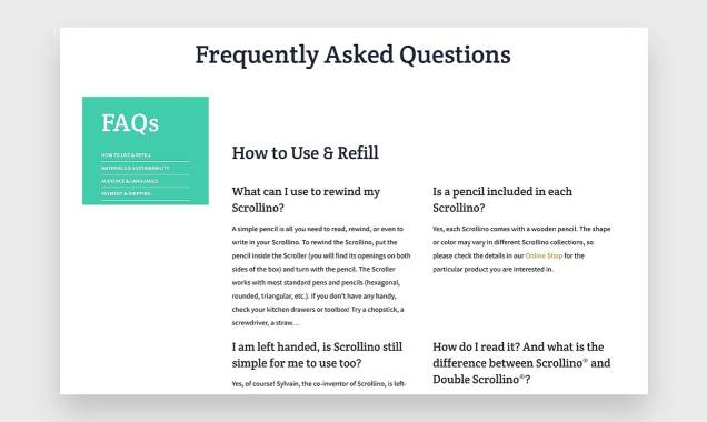 screenshot of Scrollino's FAQ page with categorized questions
