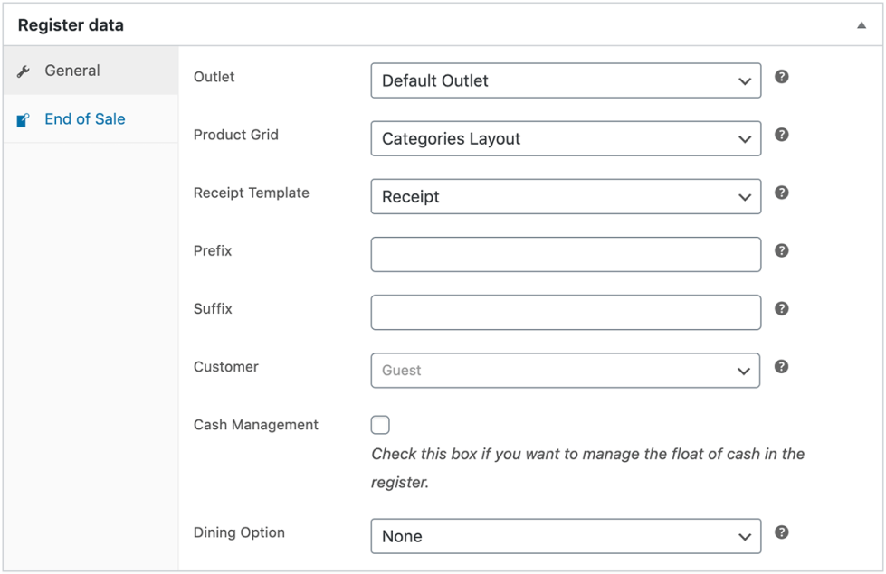 Back-end view of register data settings