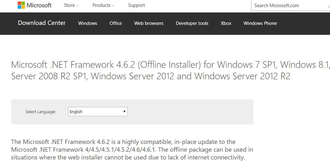 Download .NET Framework do site oficial Microsoft
