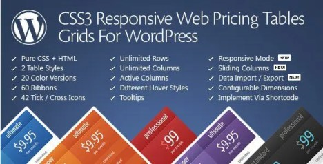 CSS3 Responsive WordPress Compare Pricing Tables