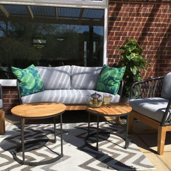 garden patio set wooden sofa outdoor living ideas decor