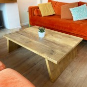 splayed rustic coffee table