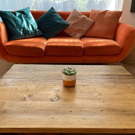 living room organge sofa