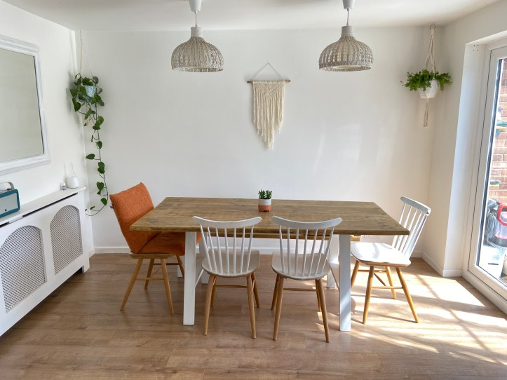 white dining space