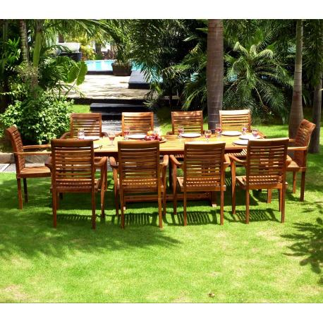salon de jardin grande table et fauteuils en teck huile