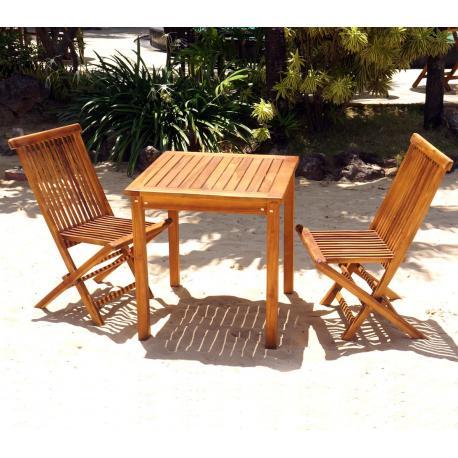 table et chaises de jardin en teck huile salon 2 places