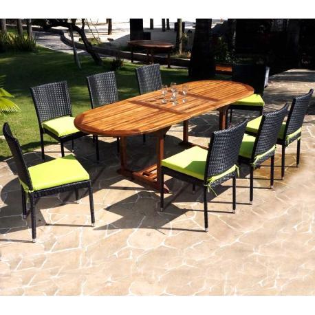 salon de jardin en teck java avec chaises en resine tressee noire coussins