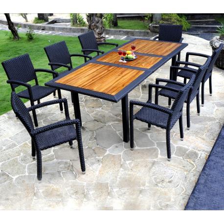 mobilier de jardin en teck et resine table de jardin 8 fauteuils