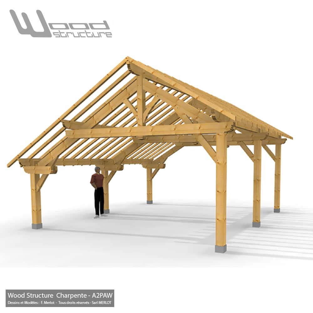 Abris 2 Pans Asymetrique Charpente Bois Wood Structure