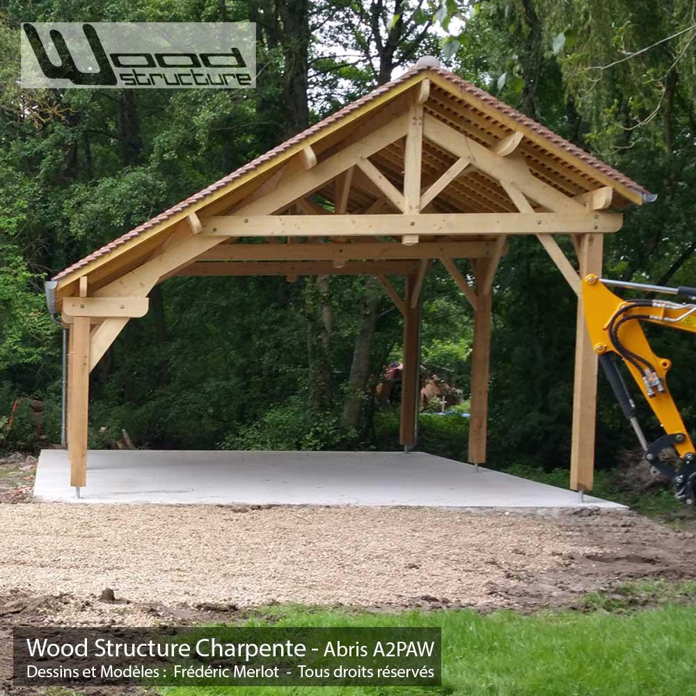 Abris 2 Pans Asymtrique Charpente Bois Wood Structure