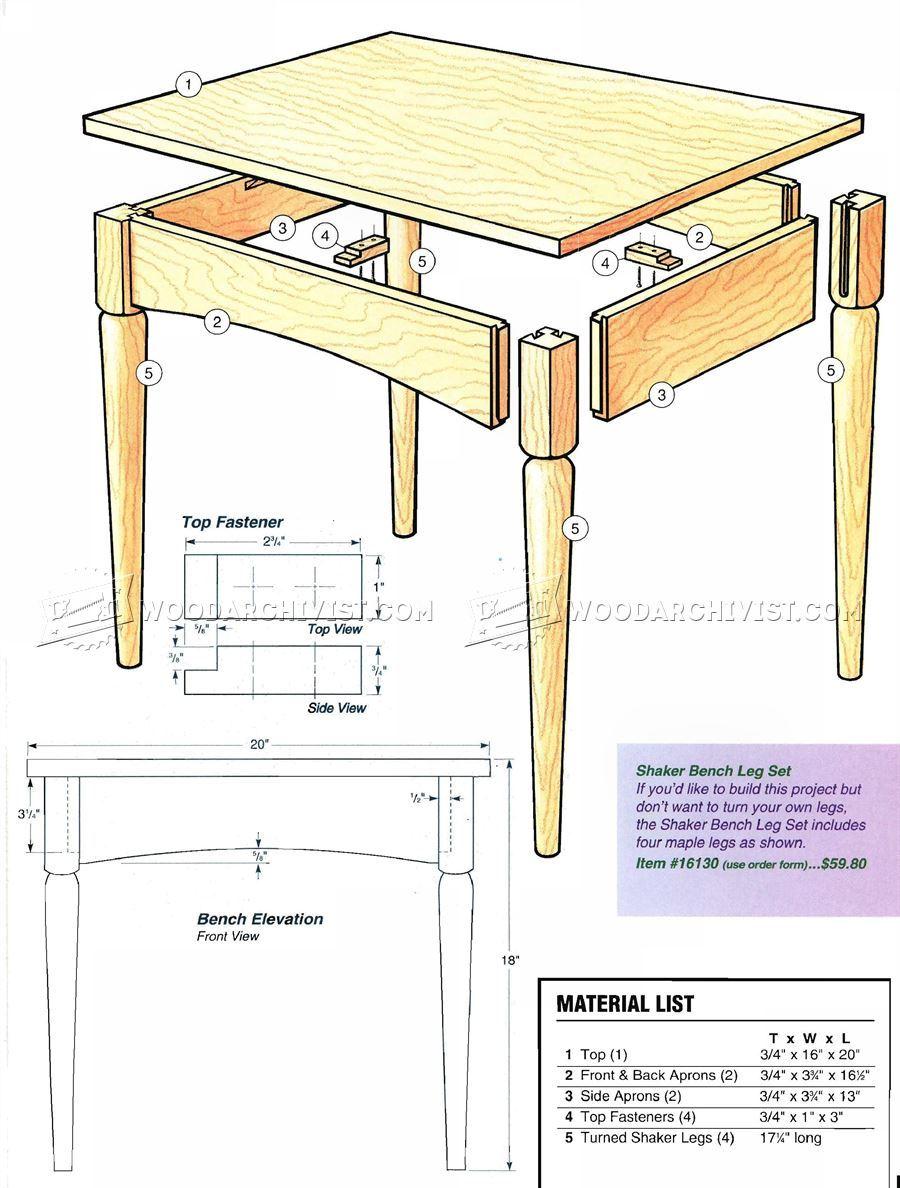 Shaker Bench Plans Woodarchivist