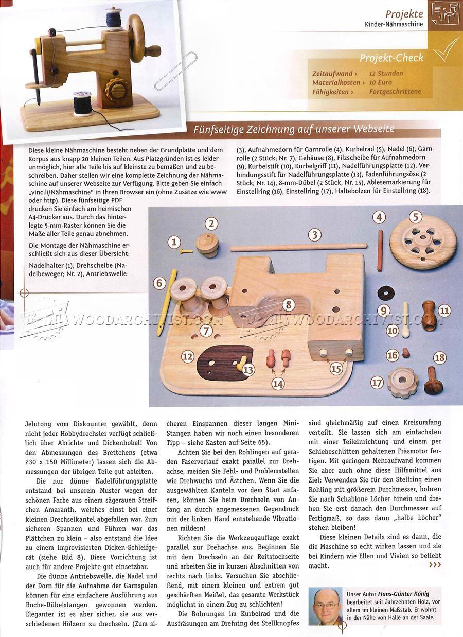 Wooden Toy Sewing Machine WoodArchivist