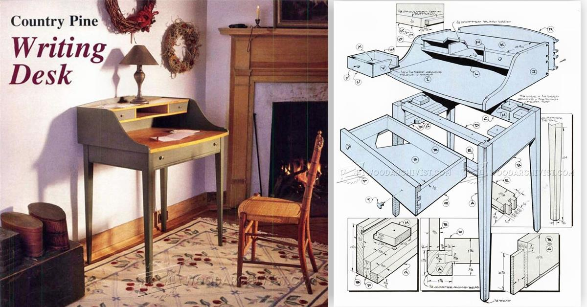 Writing Desk Plans WoodArchivist