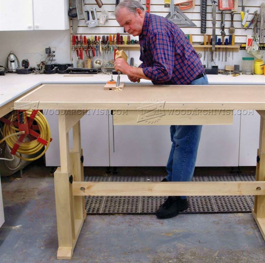 Adjustable Height Worktable Plans Woodarchivist