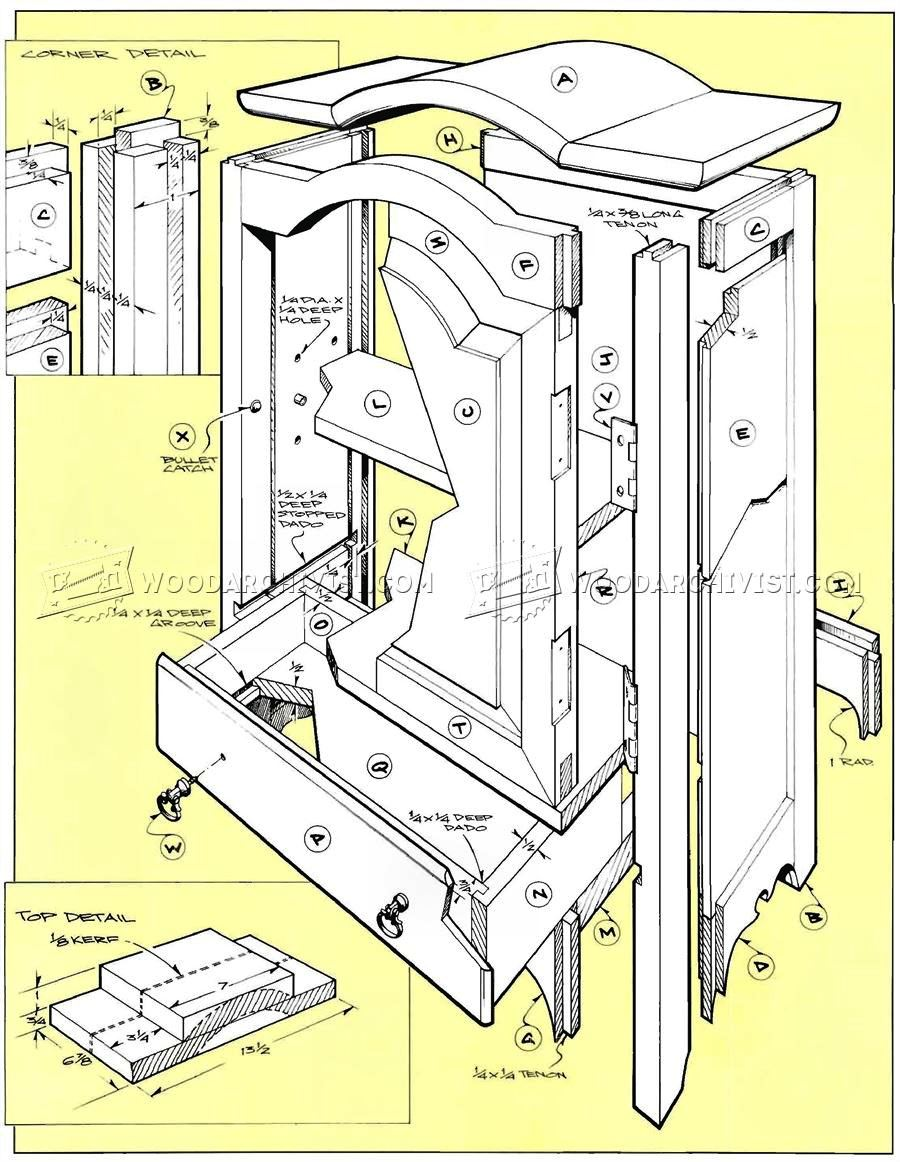 table top jewelry armoire plans