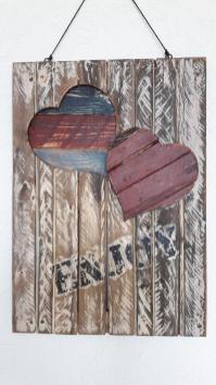 Dekoration und Accessoire Wandboard mit zwei Herzen