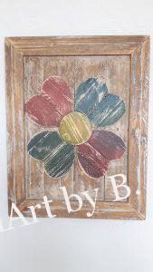 Bild mit Blume und Rahmen aus Altholz