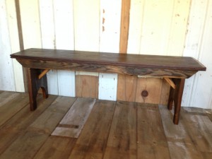 Bench made from farmhouse planks for the Eno 50th gala auction