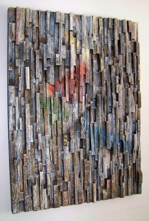 corporate art, office art, interior design, hospitality art, wood assemblage, wall art ideas