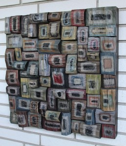 wood blocks assemblage, wood mosaic, wood sculpture, abstract painting on wood