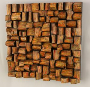 wood blocks assemblage, wooden mosaic, acoustic panel, wood sculpture