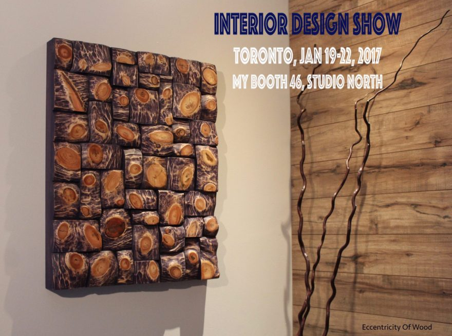 Olga Oreshyna, the local artist well-known for her stunning work with recycled wood displays new contemporary abstract artworks at Interior Design Show