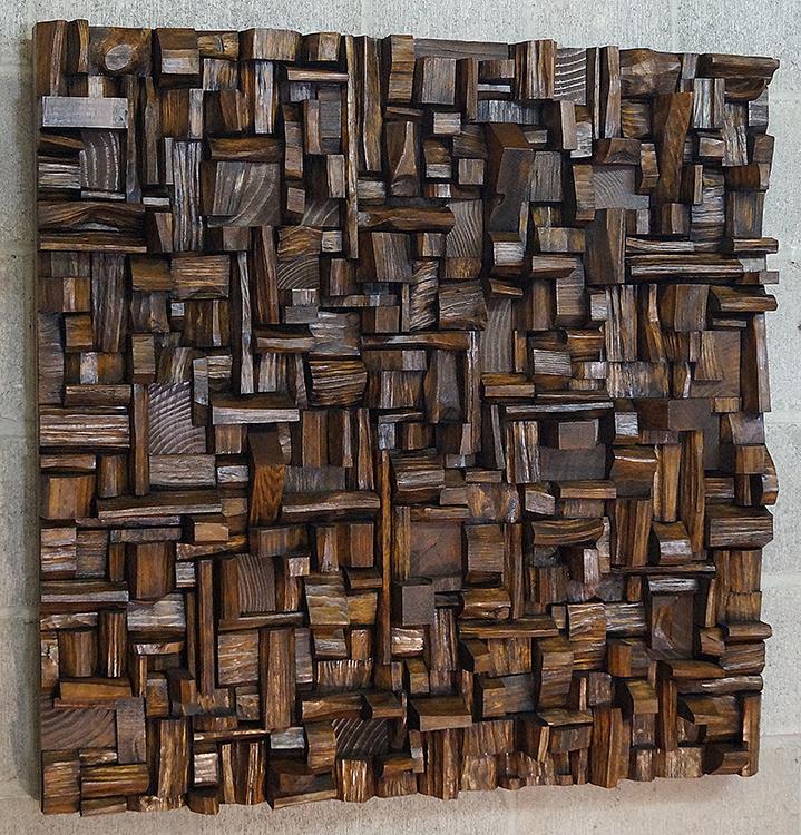 wood art, wood wall art, contemporary wood art, interior design, wood blocks assemblage, wood art acoustic panel, home decor