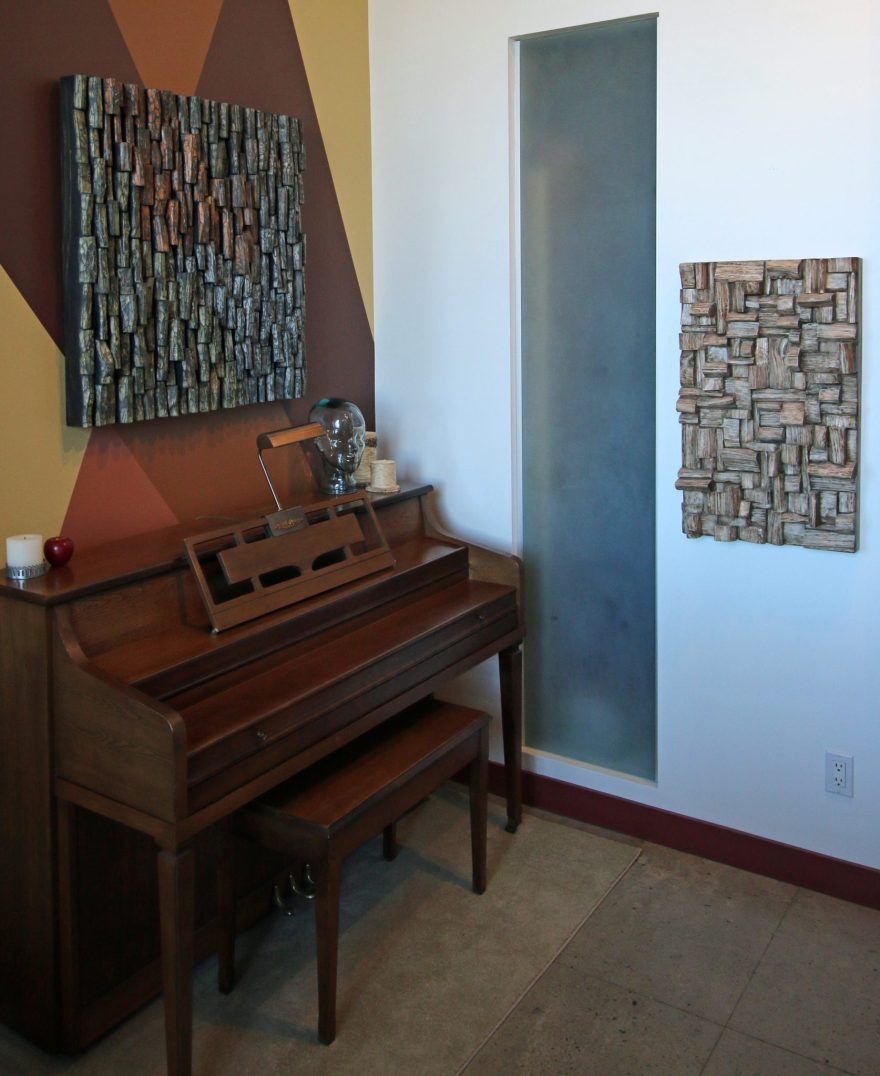 hi end sound diffusers, acoustic treatment, music room acoustic, piano room acoustic, interior design, wood wall art, contemporary wood art, acoustic panels