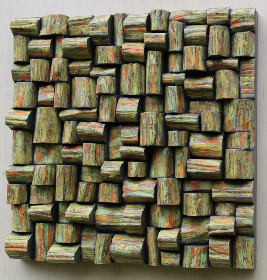 Recycled Wood Wall Sculpture, a functional work of Art will add a bit of nature to your space and improve sound clarity at the same time.