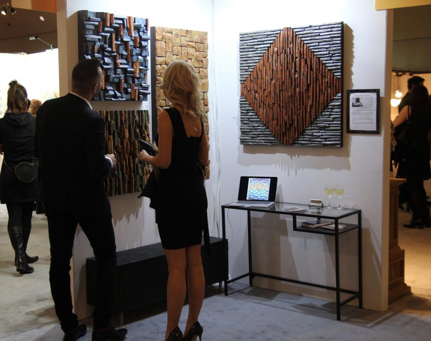 Unique and innovative natural wood blocks design concept was really admired by attendees at Interior Design Show Toronto