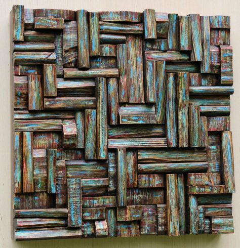 wood wall art, textured art, wall sculpture, wood blocks assemblage, cottage life, interior design ideas, wall art ideas, contemporary wood art