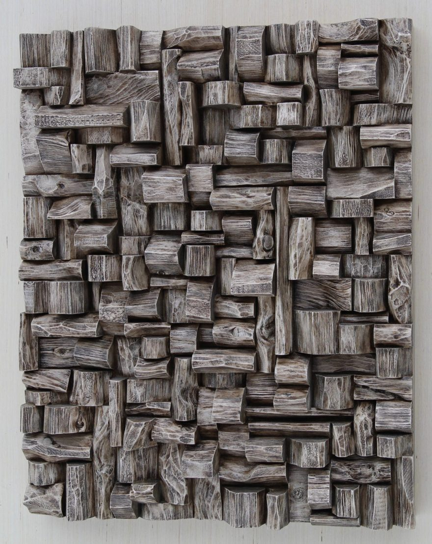 Outstanding wood blocks assemblage by Canadian artist Olga Oreshyna, the unique composition of richly textured abstract surfaces and intricate shape formations
