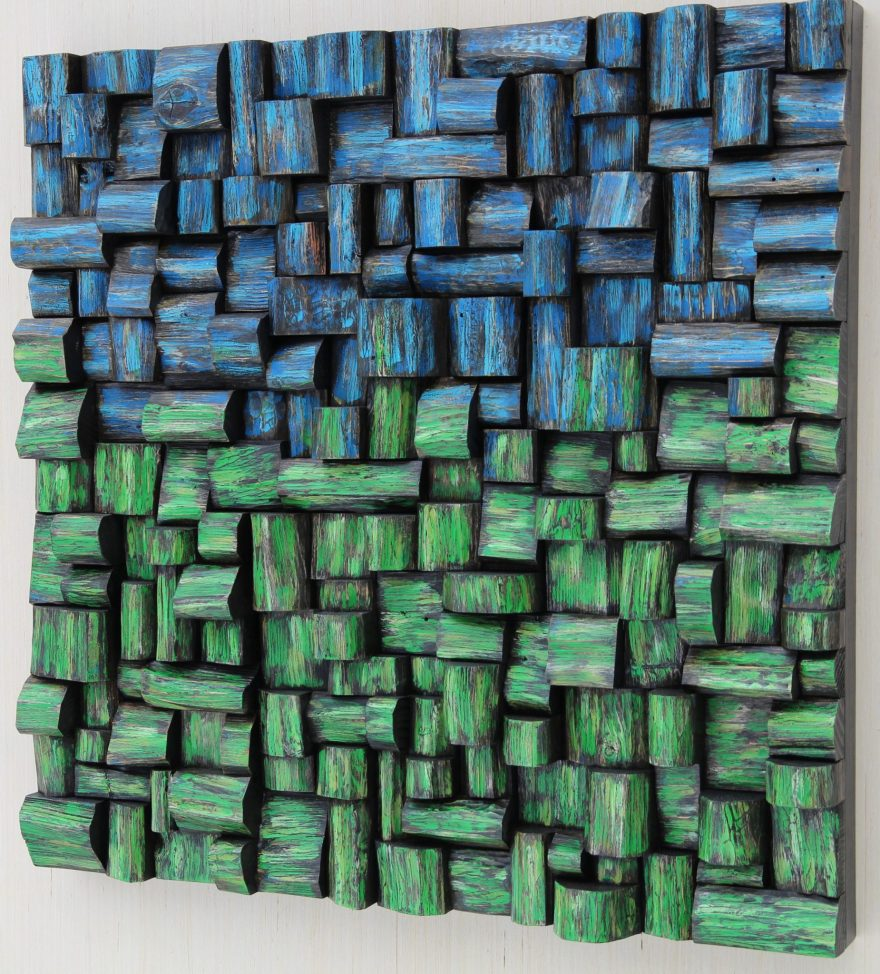 Contemporary wood wall sculpture by Canadian artist Olga Oreshyna, a striking piece of art creates a strong focal point and makes an incredible feature, and improve your acoustic at the same time.