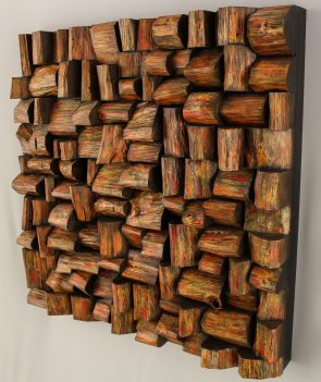Original artwork by Canadian artist Olga Oreshyna, well known for her remarkable work with recycled wood.