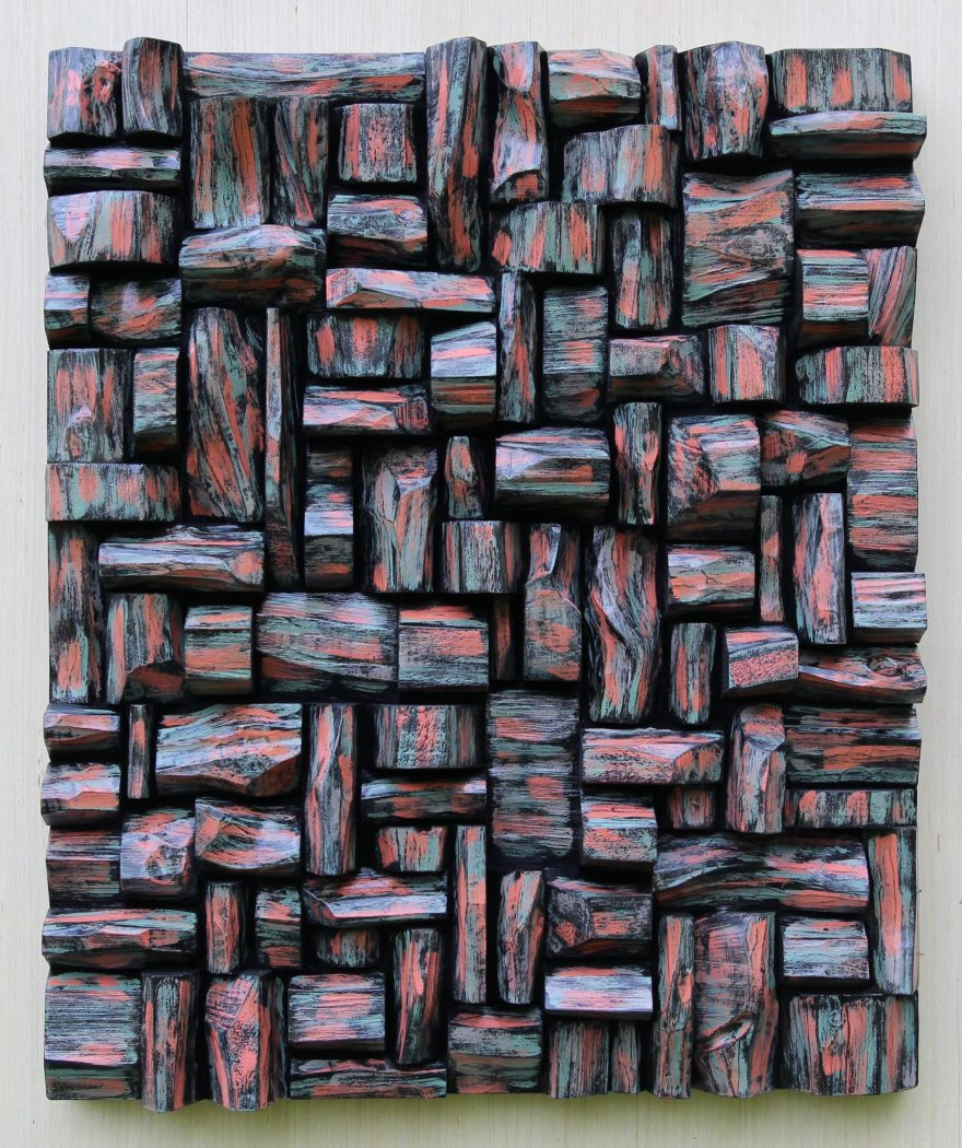 One of a kind original artwork by Canadian artist Olga Oreshyna, contemporary wood wall sculpture, an impressive combination of form, texture and vibrant colour