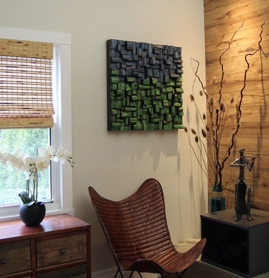 Highly distinctive wood acoustic art, designed and created to meet aesthetical and acoustical requirement