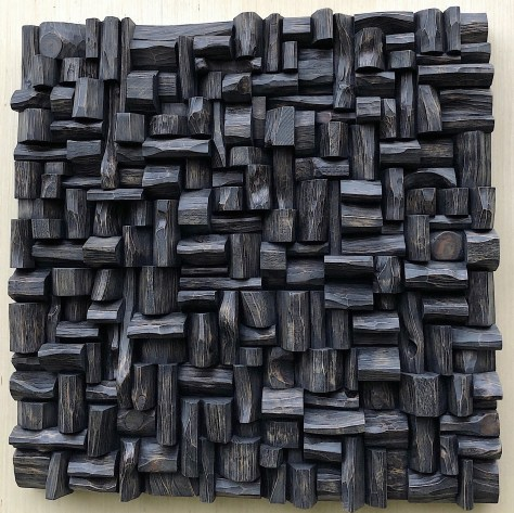 Wood Wall Sculpture, abstract wood blocks assemblage